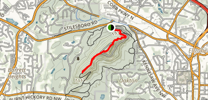 Little Kennesaw Mountain Overlook Via West Trail Map