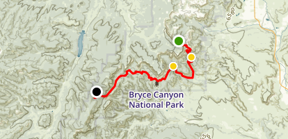 Under the Rim Trail: Bryce Point to Whiteman Bench Map
