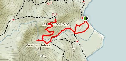 Inspiration Point via Jenny Lake Boat Shuttle Map