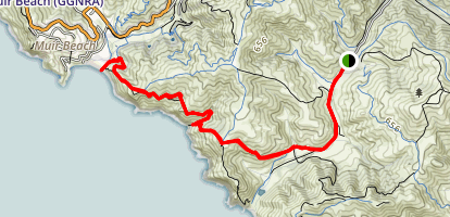 Tenessee Valley to Muir Beach via Coastal Trail Map