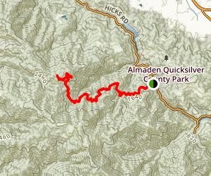 Mt. Umunhum via Woods Trail and Barlow Road Map