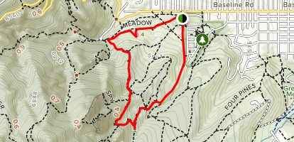 Bluebell, Royal Arch, Flatiron, Bluebell-Baird and Meadow Trail Loop Map