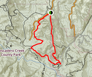 Shingle Mill and Upper Coyote Ridge via Pomponio Trail Map