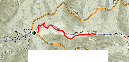 Jane Bald via Appalachian Trail Map