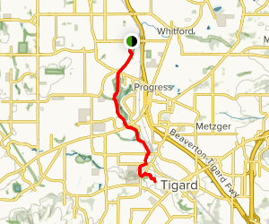 Fanno Creek Trail from Fanno Creek Park to Woodland Park Map