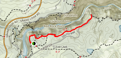 Canyon Rim South Trail to Artist Point Map