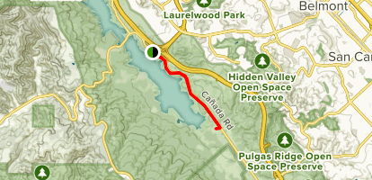 Crystal Springs to Pulgas Water Temple Map