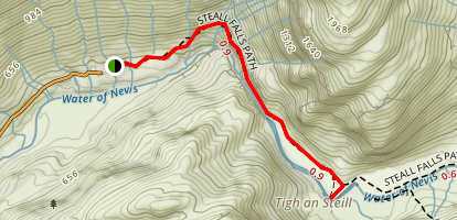 Tigh an Steill via Steall Falls Path Map