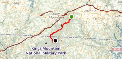 Crowders Mountain State Park to Kings Mountain State Park Map