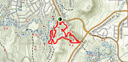 Ridgeline Open Space Loop: A to B and O to A Loop Map