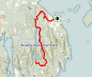 Acadia Carriage Road from Bar Harbor to Jordan Pond Map