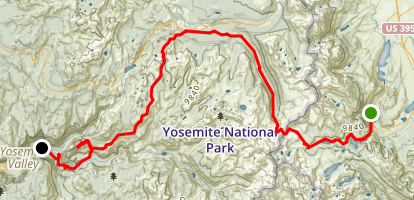 Silver Lake to Yosemite Village Map