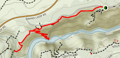 Brink of Lower Falls via North Rim Trail Map