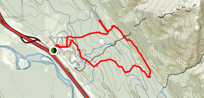 Banff Boundary Lodge to Meander Trail and Tibits Quarry Trail Map