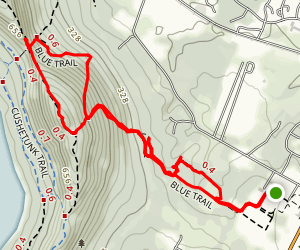 Cushetunk Mountain Blue Trail from Pickell Park Map