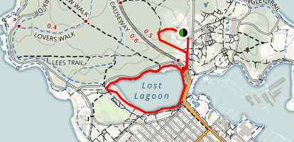Lost Lagoon and Rose Garden Loop Map