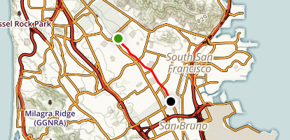 Centennial Trail (South San Francisco Bart to San Bruno Bart) Map