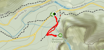 Bridalveil Falls from Southside Drive Map