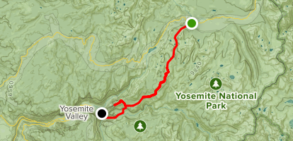 From Cathedral Lakes Trailhead to Yosemite Valley via Half Dome Map