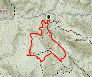 Wolf Rock to Stone Mountain Loop Trail Map