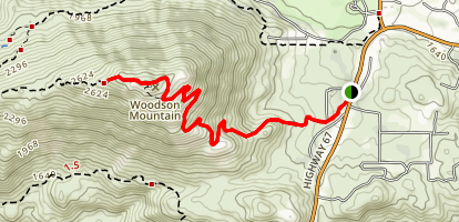 Woodson Mountain via Hwy 67 Map