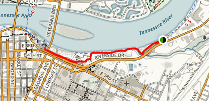 The Tennessee River Walk: Citico Bar to Veterans Bridge Map
