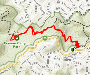 Mulholland Drive to Fryman Canyon Map