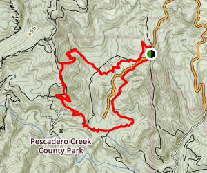 Tarwater, Pomponio, and Canyon Trail Loop Map