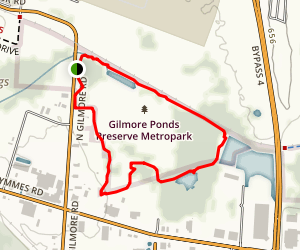 Gilmore Ponds Preserve Metropark Loop Map