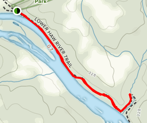 Lower Haw River Trail to Pokeberry Creek Map