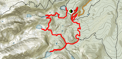 Nymph, Dream, Haiyaha and Loch Vale Lakes Loop Map