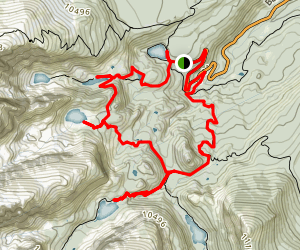 Nymph, Dream, Haiyaha, Loch Vale - Lakes Loop Map