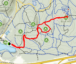 Houghton's Pond to Buck Hill Map