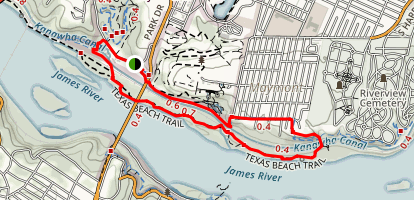 North Bank Trail to Texas Beach Trail Loop Map