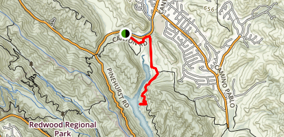 Kings Canyon to Upper San Leandro Reservoir Map