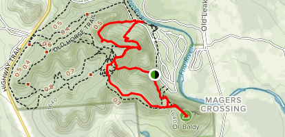 Old Baldy, Foshee, Bridges, and Crystal Cave Trails Loop Map