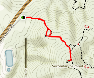 Glider Point Trail to the Secondary Summit Map