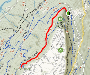 Sunset Rock via Craven's House Trail Map