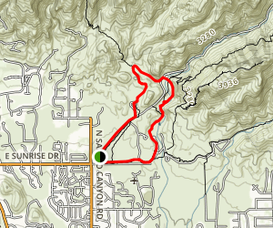 Sabino Lake (#30), Creek Trail (#52), Rattlesnake Trail (#50), and Esperero Trail (#25) Map