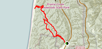 James Irvine to Fern Canyon to Clintonia to Miner's Ridge Map