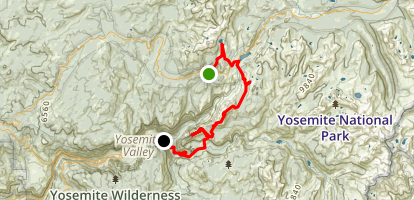 May Lake Camp to Yosemite Valley Map