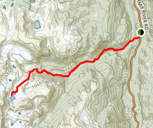 West Branch to North Forks Trail and Twin Crater Lakes Map