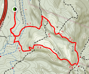Timp Torne Blue Trail and R-D Red Trail Loop Map