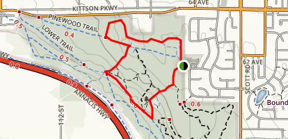 Upper Trail to Water Tower Trail and Lower Trail Loop Map