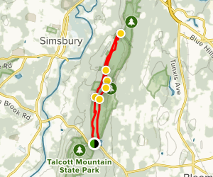 Metacomet Trail to Yellow Path Loop Map