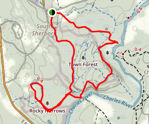 Rocky Narrows and Sherborn Town Forest Map