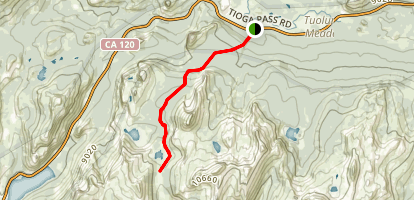 Tuolumne Meadow to Cathedral Pass Map