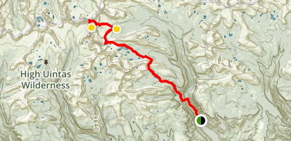 Upper Chain Lakes, Atwood Lake, and King's Peak Map
