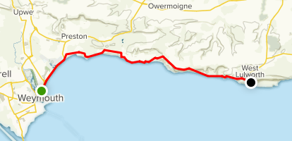 Weymouth to Lulworth Cove Map
