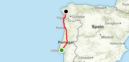 The Portugese Way of Saint James- Camino de Santiago: Lisbon to Santiago del Compostela Map